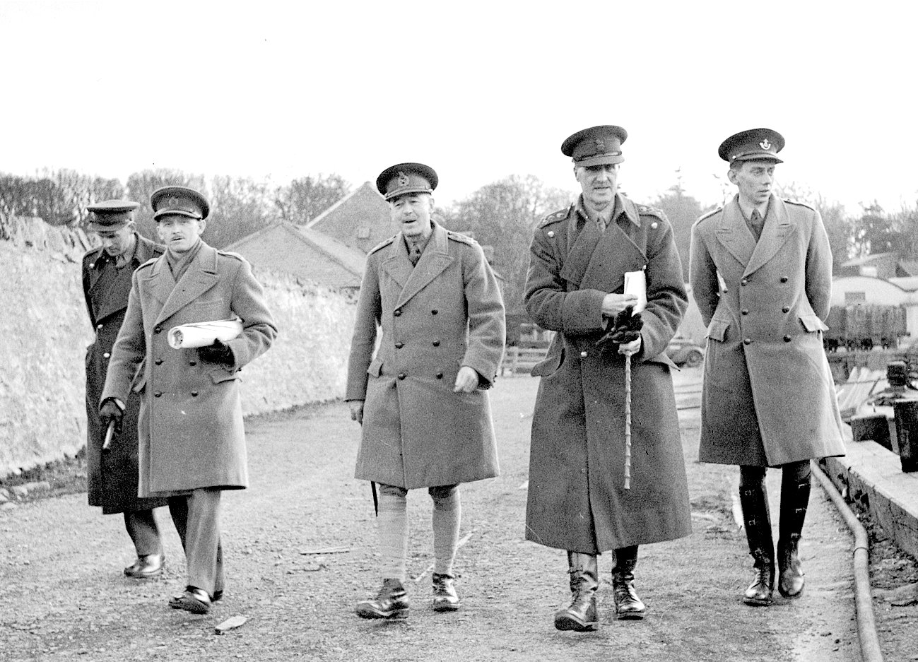 Garlieston Mulberry Harbour trials: Major Carline, Major. Steer-Webster, QMG Thomas Riddell-Webster, Brigadier Sir Bruce White arriving at Garlieston Harbour, 13th March 1943