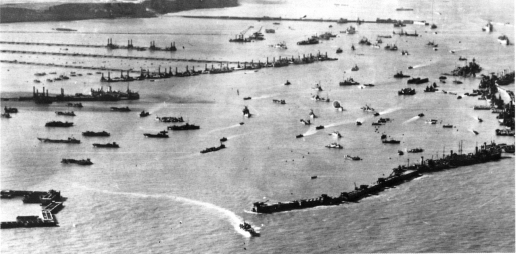 After D-Day. Mulberry harbour in full flow.