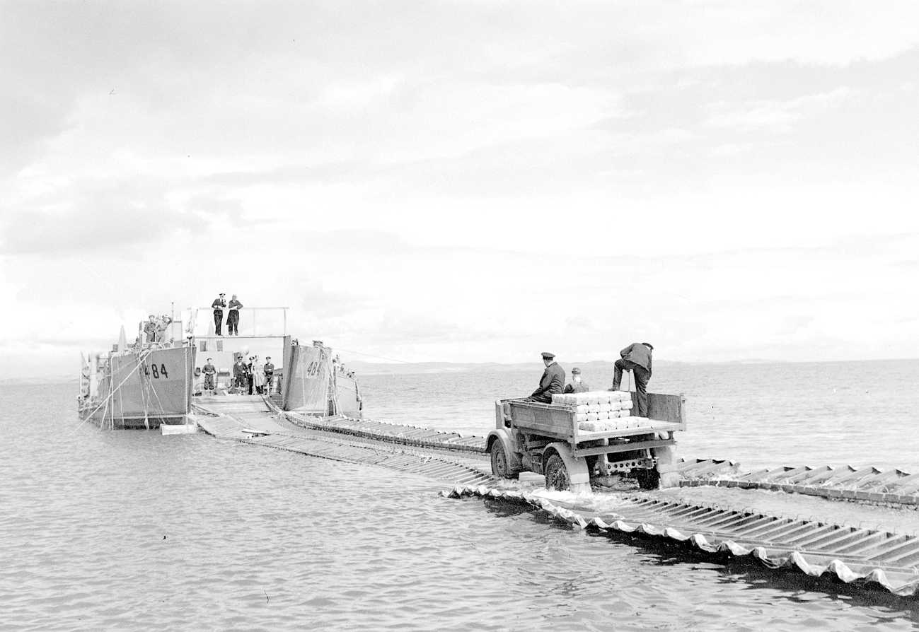 Garlieston Mulberry Harbour trials: Lorry tries out Swiss Roll off Cairnhead nr Garlieston
